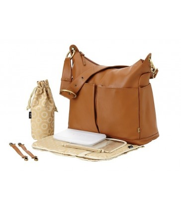 OiOi Soft Tan Leather 2 Pocket Hobo Nappy Bag (6650)