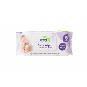 BabyU Baby Wipes Fragrance Free 80pk