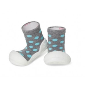 Attipas Baby Pre Walker Sock Shoes Ballet - Polka Grey M