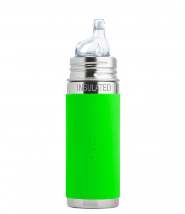 Pura Kiki Insulated 260ml Sippy Bottle - Natural Mirror with Green Sleeve