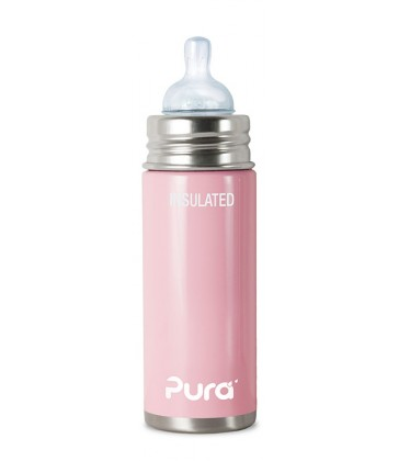 Pura Kiki 250ml Insulated Infant Bottle with Natural Vent Teat Cotton Candy Pink