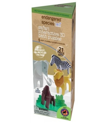 Endangered Species Eco 3D Interactive Bath Puzzle- Safari