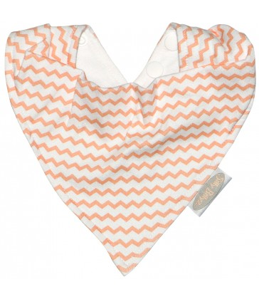 Silly Billyz Jersey Bandana Bib - Peach Chevron