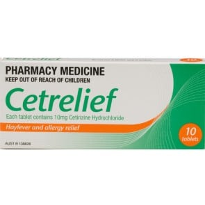 Cetrelief 10mg tablets (10 tabs)