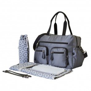 OiOi Microcheck Carry All Nappy Bag Grey (6673)