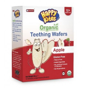 Happy Bites Organic Teething Wafers Apple Flavour 50g