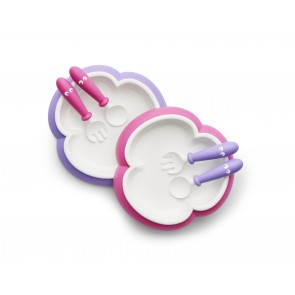 BabyBjorn Baby Plate, Spoon & Fork- Pink/Purple (2 sets)