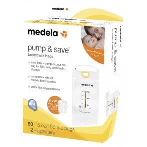 Medela Pump & Save Breastmilk Bags with Easy Connect Adaptor (50 pack)