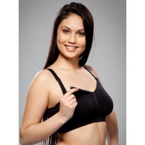 Carriwell Seamless Nursing Bra Organic Cotton Black- Large by Carriwell  -