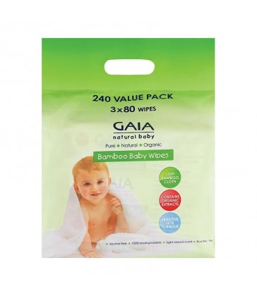 GAIA Baby Natural Bamboo Wipes 240 pack