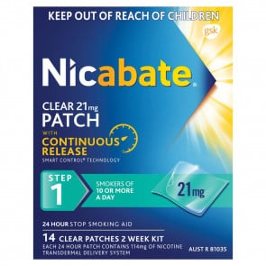 Nicabate CQ Clear Patch 21 mg 14 Pack