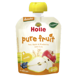 Holle Organic Pouch Pear, Apple, Blueberries with Oats  (90g x12)