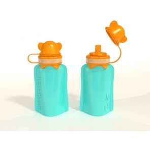 My Squeeze 170mL Reusable Food Pouch- Orange Lid Aqua Body