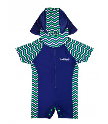 Rashoodz Baby & Toddler Swimsuit (Rash Suit and Hat)- Chevvy Green Size 3