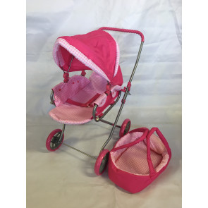 Aussie Baby Toy Doll Pram in Pink with Carry Bassinet