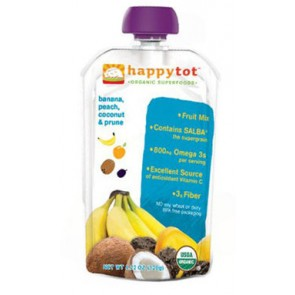 Happy Tots Organic Banana, Peach, Coconut & Prune  (120gm x 8 pouches)