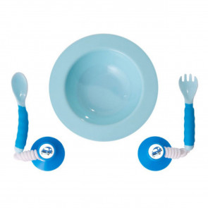 Ezee-Reach Stay-Put Cutlery & Bowl - Blue Car