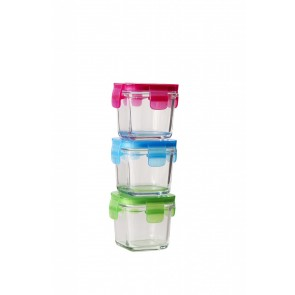Littlelock 120mL Square Glass Baby Food Container (Set of 3:  Pink, Blue & Green)