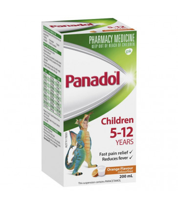Panadol Children Colour-Free Suspension  5 to 12 Years - 200 ml - ORANGE