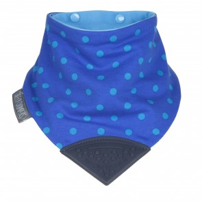 Neckerchew Chewy Dribble Bib Polka Dot Blue