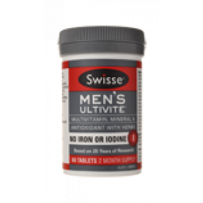 Swisse Mens Ultivite No Iron or Iodine 60 Tablets