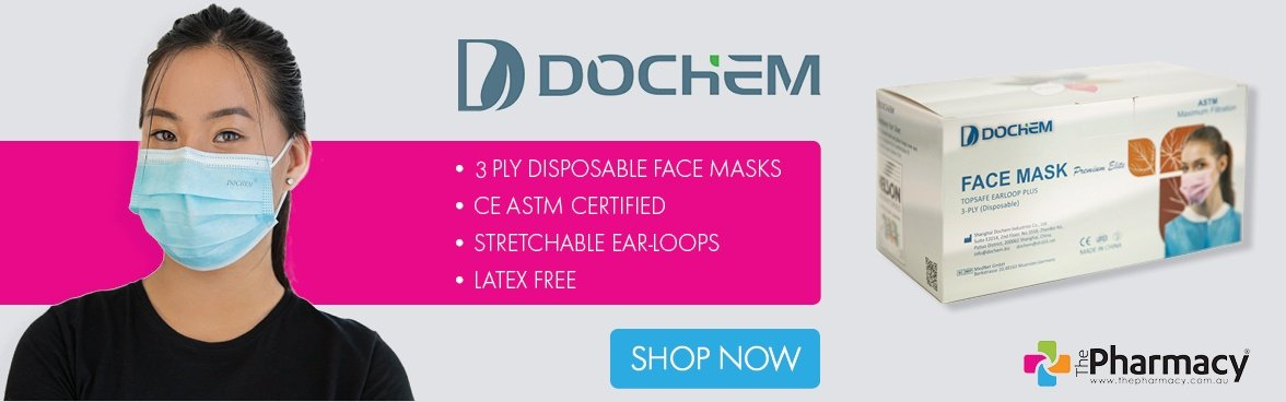 DOCHEM Premium Elite Disposable Surgical Face Mask 3 ply with Earloop Plus